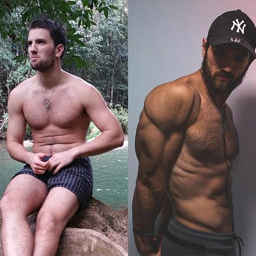gratis-buch | Sjard nach 2 Jahren Fitness-Studio und Sjard nach weiteren 15 Monaten, diesmal mit seinem Erfolgstrainingsplan